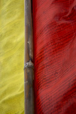 Yellow and red prayer flags