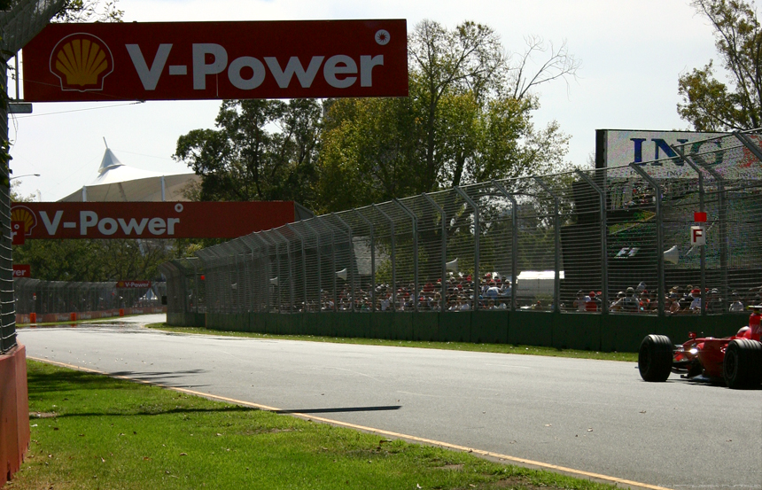 Ferrari on the F1 track at Albert Part, Australian Grand Prix 2007