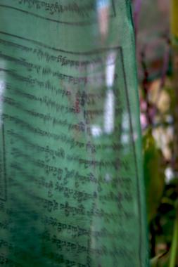Green prayer flag