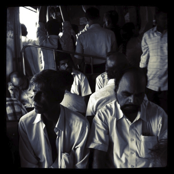 Drowsy people in a train